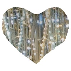 String Of Lights Christmas Festive Party Large 19  Premium Heart Shape Cushions by yoursparklingshop