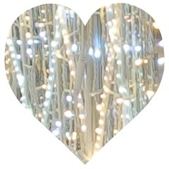 String Of Lights Christmas Festive Party Wooden Puzzle Heart by yoursparklingshop