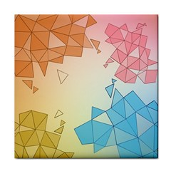 Background Pastel Geometric Lines Tile Coaster by Alisyart