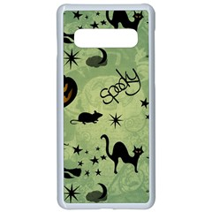 Funny Halloween Pattern With Witch, Cat And Pumpkin Samsung Galaxy S10 Seamless Case(white)