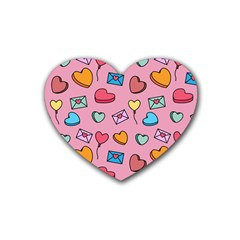 Candy Pattern Rubber Coaster (heart)  by Sobalvarro