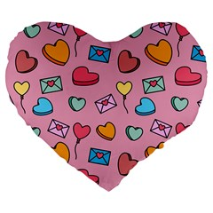 Candy Pattern Large 19  Premium Flano Heart Shape Cushions by Sobalvarro