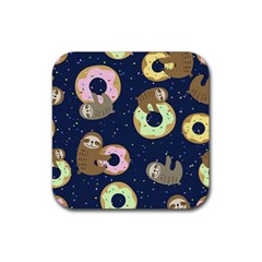 Cute Sloth With Sweet Doughnuts Rubber Coaster (square)  by Sobalvarro
