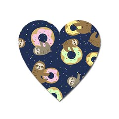Cute Sloth With Sweet Doughnuts Heart Magnet by Sobalvarro