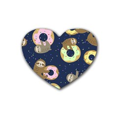Cute Sloth With Sweet Doughnuts Rubber Coaster (heart)  by Sobalvarro