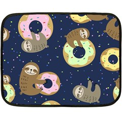 Cute Sloth With Sweet Doughnuts Double Sided Fleece Blanket (mini)  by Sobalvarro