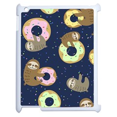 Cute Sloth With Sweet Doughnuts Apple Ipad 2 Case (white) by Sobalvarro