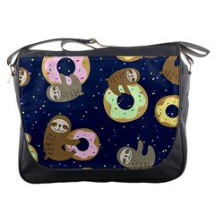 Cute Sloth With Sweet Doughnuts Messenger Bag by Sobalvarro