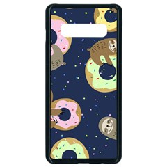 Cute Sloth With Sweet Doughnuts Samsung Galaxy S10 Plus Seamless Case (black)