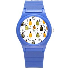 Pineapples Round Plastic Sport Watch (s) by Sobalvarro