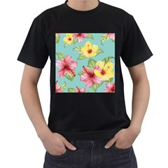 Hibiscus Men s T-shirt (black) (two Sided) by Sobalvarro