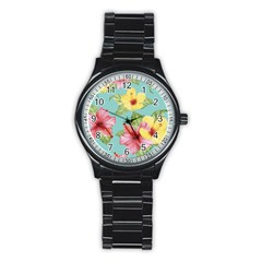 Hibiscus Stainless Steel Round Watch by Sobalvarro