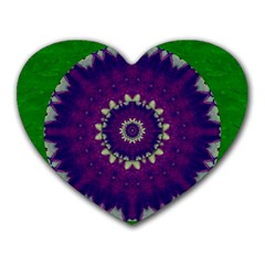 Mandala In Leaves,on Beautiful Leaves In Bohemian Style Heart Mousepads by pepitasart