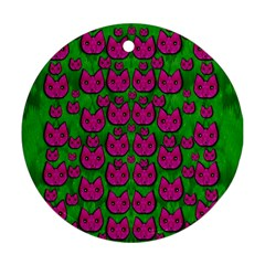 Sweet Flower Cats  In Nature Style Round Ornament (two Sides) by pepitasart