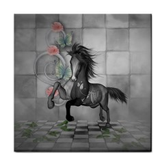 Wonderful Black And White Horse Tile Coaster by FantasyWorld7