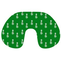 Skeleton Green Background Travel Neck Pillow by snowwhitegirl