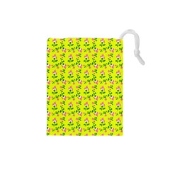 Carnation Pattern Yellow Drawstring Pouch (small) by snowwhitegirl