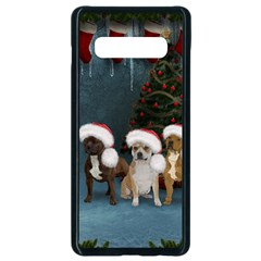 Christmas, Cute Dogs With Christmas Hat Samsung Galaxy S10 Plus Seamless Case (black) by FantasyWorld7