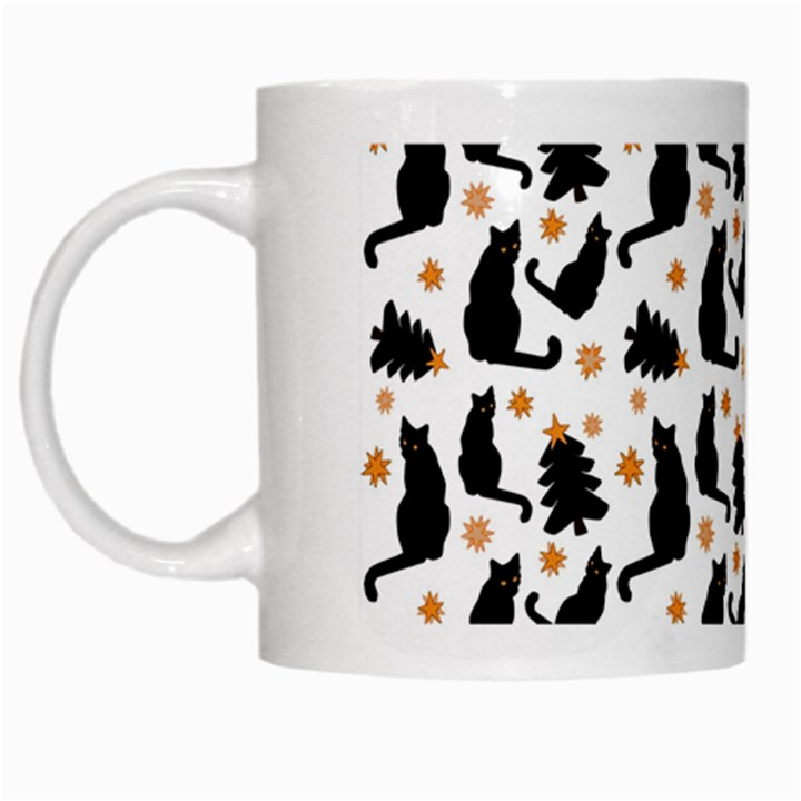 Black Cat Star Christmas Tree White Mugs