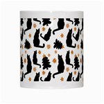 Black Cat Star Christmas Tree White Mugs Center
