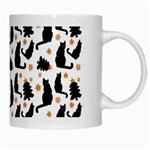 Black Cat Star Christmas Tree White Mugs Right