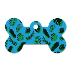 Tropical Leaves Nature Dog Tag Bone (one Side)