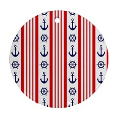Nautical Papers Nautical Background Round Ornament (two Sides)