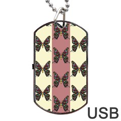 Butterflies Pink Old Old Texture Dog Tag Usb Flash (one Side)