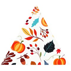 Pattern Pumpkins Autumn Wooden Puzzle Triangle