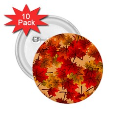 Wallpaper Background Autumn Fall 2 25  Buttons (10 Pack)  by Vaneshart