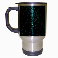 Texture Glass Network Glass Blue Travel Mug (silver Gray)