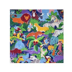 Animated Safari Animals Background Small Satin Scarf (square)