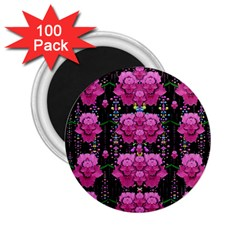 In The Dark Is Rain And Fantasy Flowers Decorative 2 25  Magnets (100 Pack)  by pepitasart