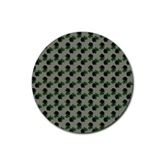 Black Rose Grey Rubber Round Coaster (4 Pack)