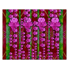 Jungle Flowers In The Orchid Jungle Ornate Rectangular Jigsaw Puzzl by pepitasart