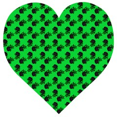 Black Rose Green Wooden Puzzle Heart