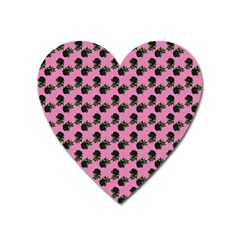 Black Rose Light Pink Heart Magnet by snowwhitegirl