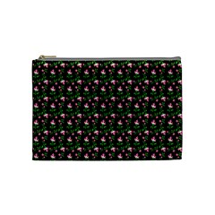 Carnation Pink Black Cosmetic Bag (medium)