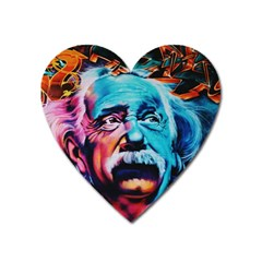 Albert Einstein Retro Wall Graffiti Blue Pink Orange Modern Urban Art Grunge Heart Magnet by snek
