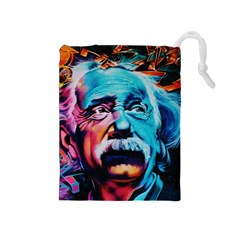 Albert Einstein Retro Wall Graffiti Blue Pink Orange Modern Urban Art Grunge Drawstring Pouch (medium)