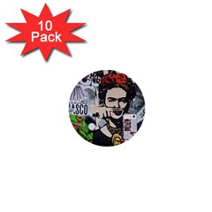 Frida Kahlo Brick Wall Graffiti Urban Art With Grunge Eye And Frog  1  Mini Buttons (10 Pack)  by snek