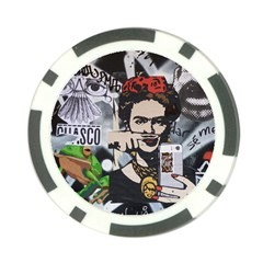 Frida Kahlo Brick Wall Graffiti Urban Art With Grunge Eye And Frog  Poker Chip Card Guard (10 Pack) by snek
