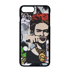 Frida Kahlo Brick Wall Graffiti Urban Art With Grunge Eye And Frog  Iphone 7 Plus Seamless Case (black)