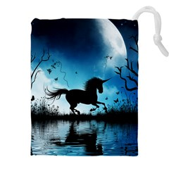 Wonderful Unicorn Silhouette In The Night Drawstring Pouch (5xl)