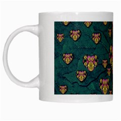 Hearts And Sun Flowers In Decorative Happy Harmony White Mugs by pepitasart
