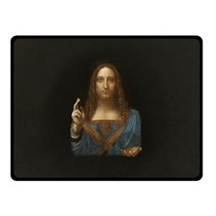 Salvator Mundi Leonardo Davindi 1500 Jesus Christ Savior Of The World Original Paint Most Expensive In The World Double Sided Fleece Blanket (small)  by snek