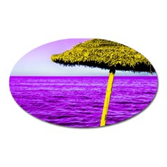Pop Art Beach Umbrella Oval Magnet by essentialimage