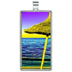Pop Art Beach Umbrella  Rectangle Necklace