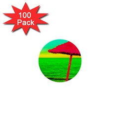 Pop Art Beach Umbrella 1  Mini Buttons (100 Pack)  by essentialimage