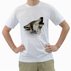 Howling Wolf Men s T Shirt (white)